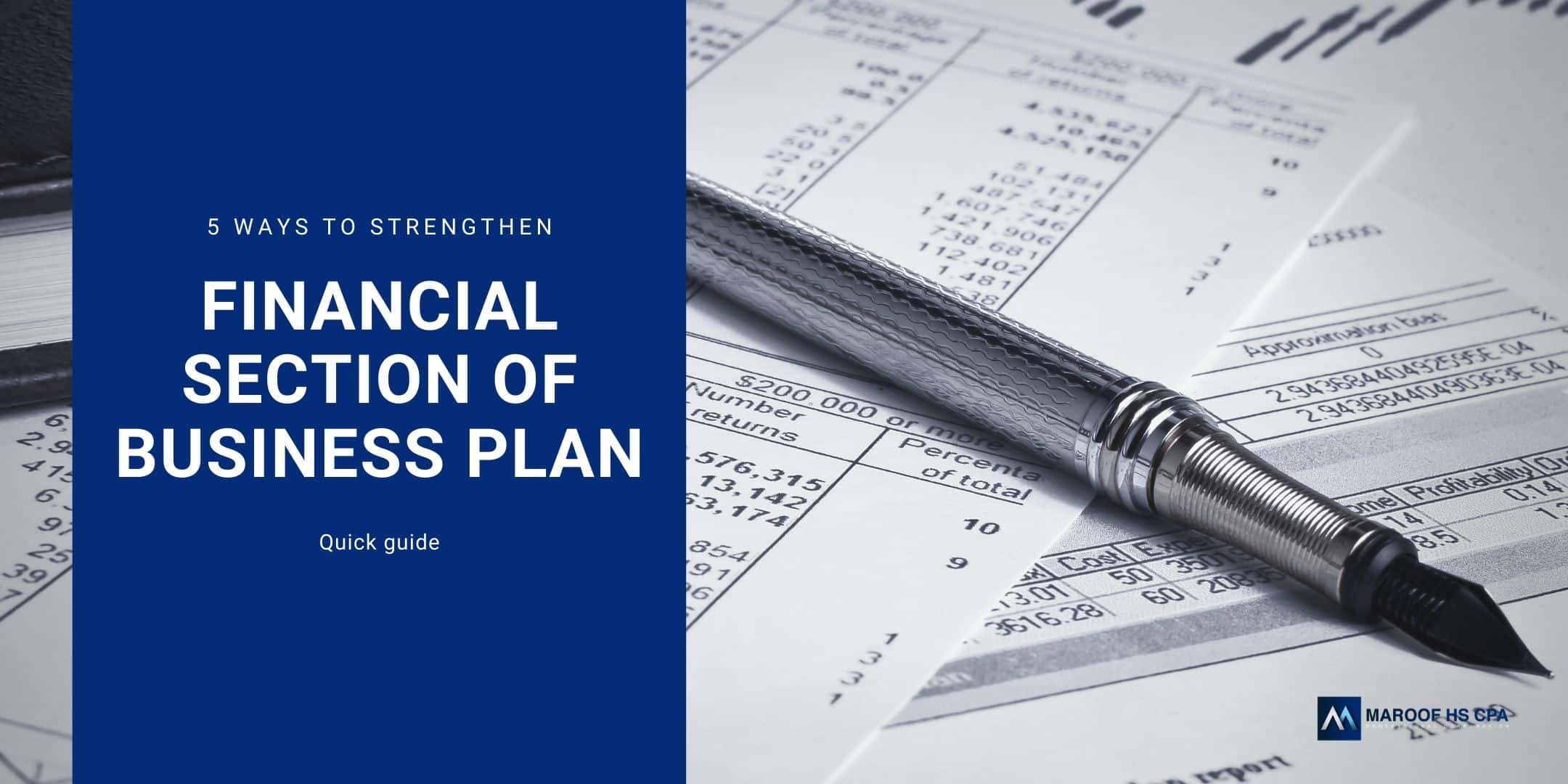 financial projections for business plan writing