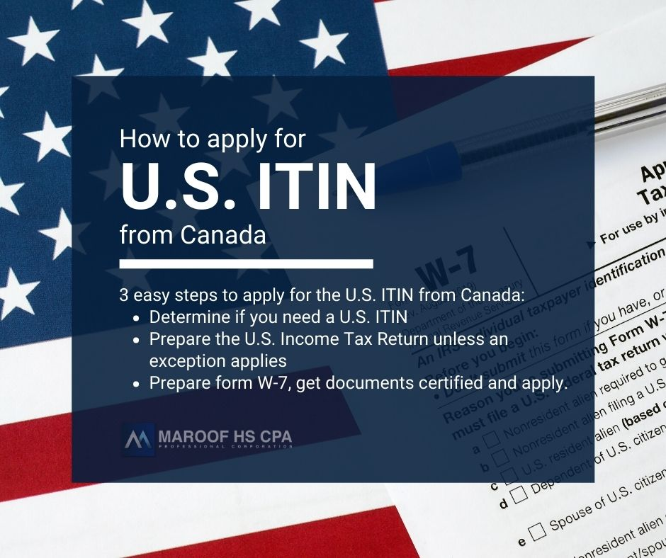 Apply U.S. ITIN from Canada