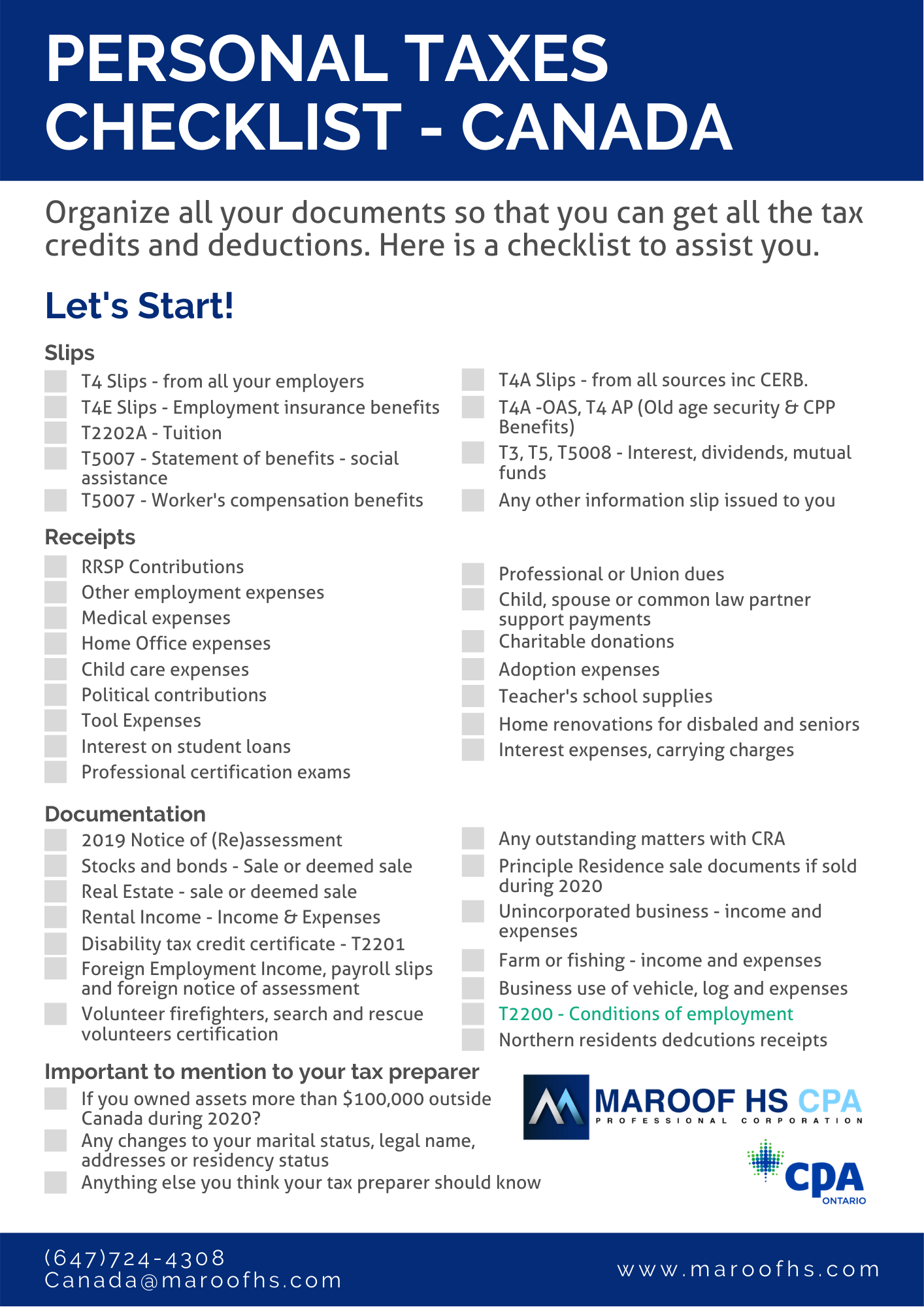 2020 income tax return services in Toronto
